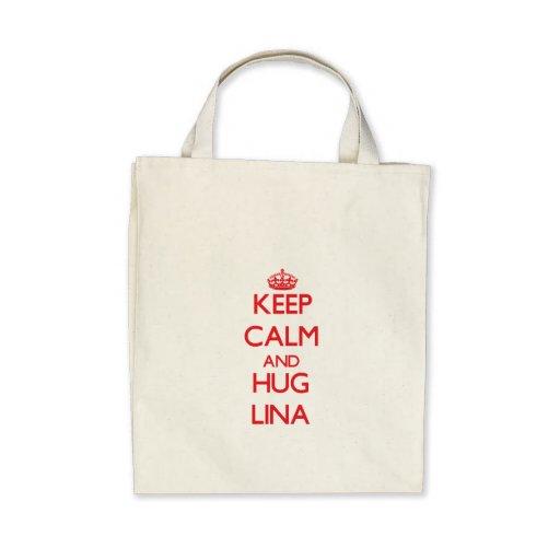 Mantenha calmo e abraço Lina Bolsas Para Compras