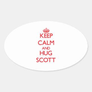 Mantenha calmo e abraço Scott Adesivos Ovais