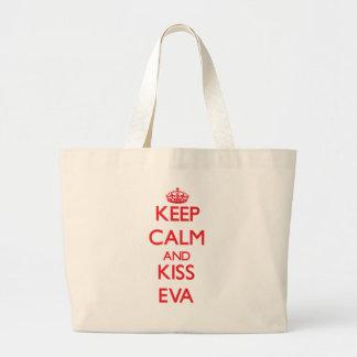Mantenha calmo e beijo Eva Bolsa De Lona