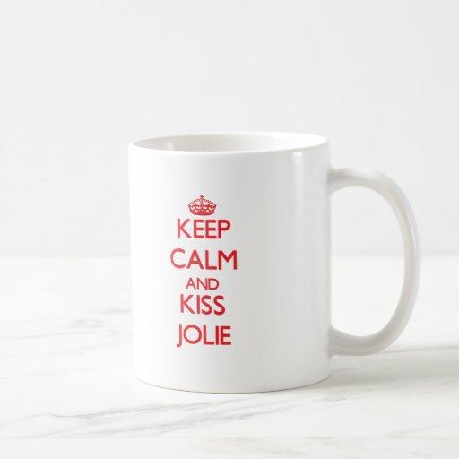 Mantenha calmo e beijo Jolie Caneca