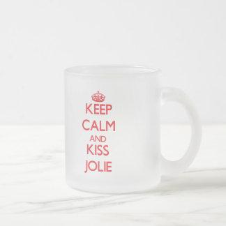 Mantenha calmo e beijo Jolie Canecas