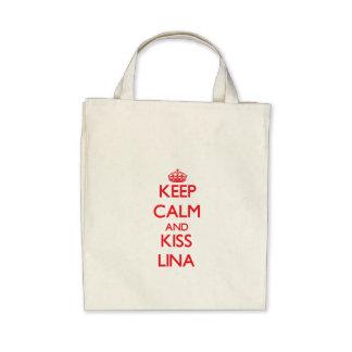 Mantenha calmo e beijo Lina Bolsa Para Compras