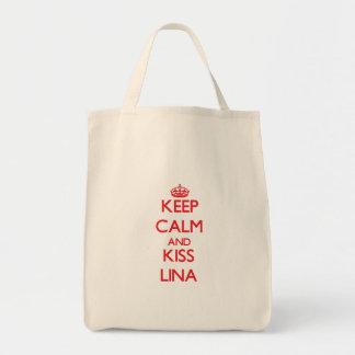 Mantenha calmo e beijo Lina Sacola Tote De Mercado