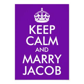 Mantenha calmo e casado Jacob Convite 12.7 X 17.78cm