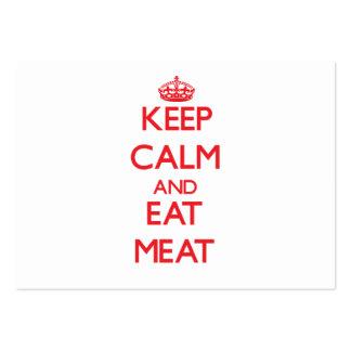 Mantenha calmo e coma a carne cartões de visita