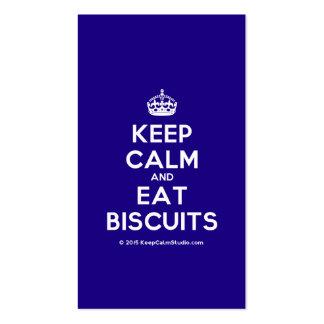 Mantenha calmo e coma biscoitos cartão de visita