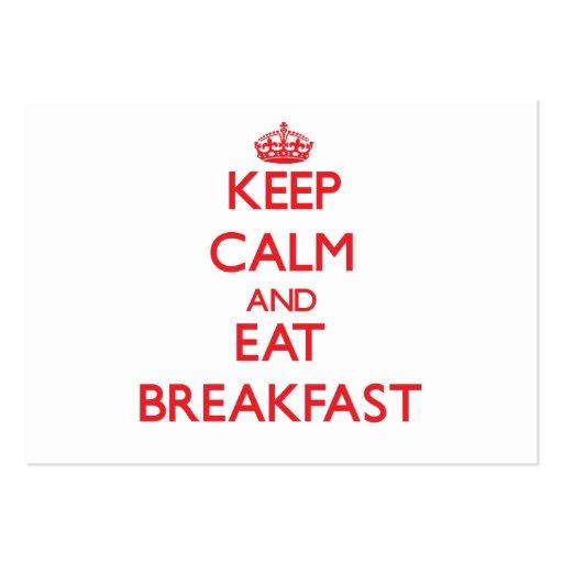 Mantenha calmo e coma o pequeno almoço modelo cartoes de visita