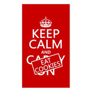 Mantenha calmo e coma os biscoitos (customizáveis) modelo cartao de visita