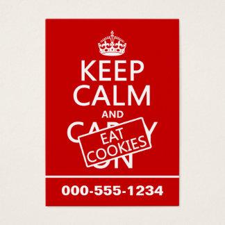 Mantenha calmo e coma os biscoitos (customizáveis) cartão de visitas