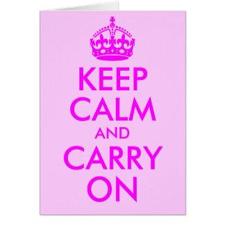 Mantenha calmo e continue o cartão