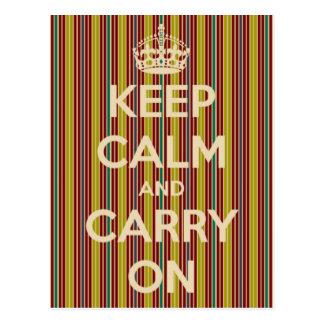 Mantenha calmo e continue o cartão da listra do