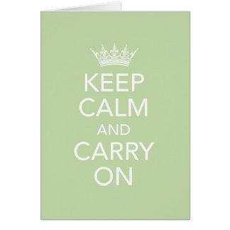 Mantenha calmo e continue o cartão de nota