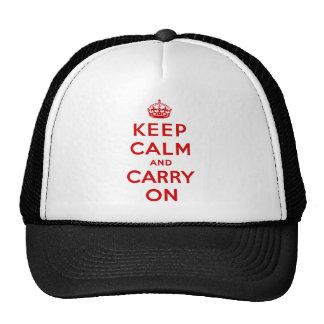 Mantenha calmo e continue o chapéu boné