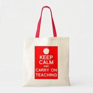 Mantenha calmo e continue o saco de livro do profe bolsa tote