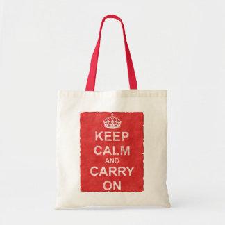 Mantenha calmo e continue o vintage sacola tote budget