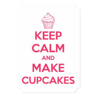 Mantenha calmo e faça cupcakes convite 12.7 x 17.78cm
