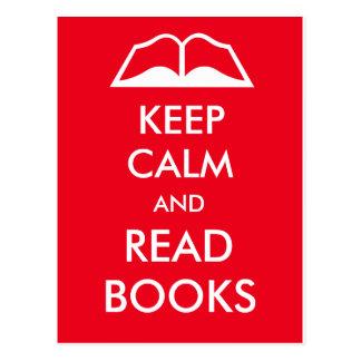 Mantenha calmo e leia livros cartão postal