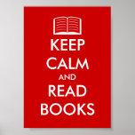 Mantenha calmo e leia o poster dos livros para