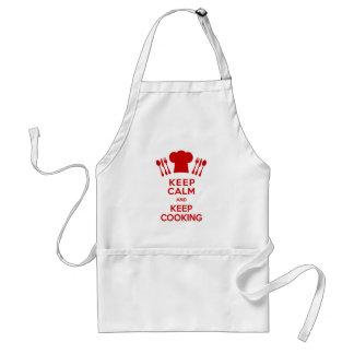 Mantenha calmo e mantenha cozinhar avental