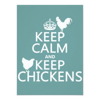 Mantenha calmo e mantenha galinhas (alguma cor do convite 13.97 x 19.05cm