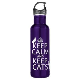 Mantenha calmo e mantenha gatos garrafa d'água