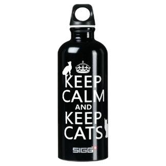 Mantenha calmo e mantenha gatos garrafa d'água de alumínio