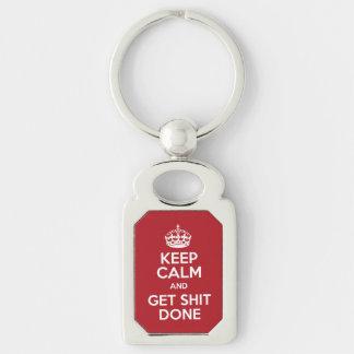 Mantenha calmo e obtenha o chaveiro feito material