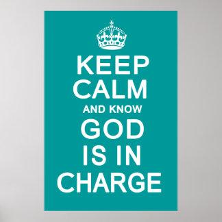 Mantenha calmo e saiba que o deus é responsável poster