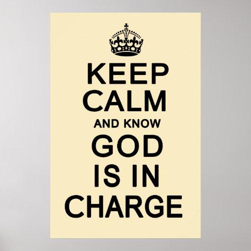 Mantenha calmo e saiba que o deus é responsável posters