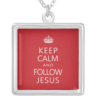 Mantenha calmo e siga Jesus Colar Com Pendente Quadrado