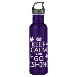 Mantenha calmo e vá pescar garrafa d'água