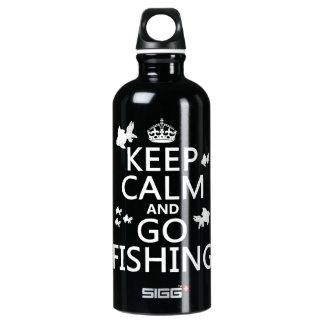 Mantenha calmo e vá pescar garrafa d'água de alumínio