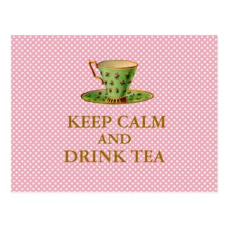 Mantenha cartão calmos e da bebida do chá