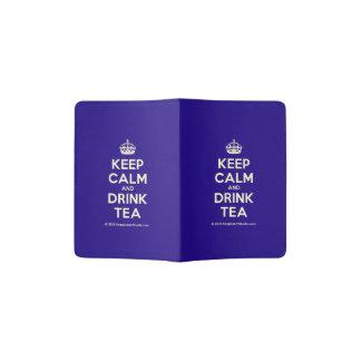 Mantenha chá calmo e da bebida capa para passaporte