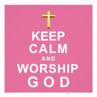 Mantenha deus calmo e do culto convite personalizado