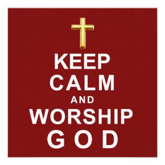 Mantenha deus calmo e do culto convite