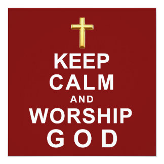 Mantenha deus calmo e do culto convite quadrado 13.35 x 13.35cm