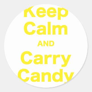 Mantenha doces calmos e do carregar adesivos em formato redondos