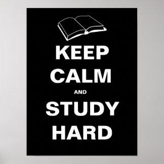 Mantenha duro calmo e do estudo pôster