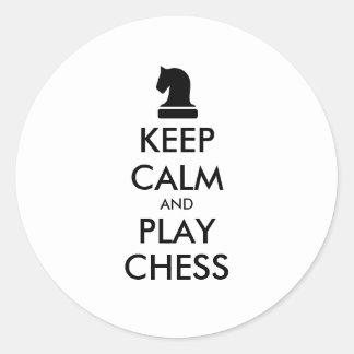 Mantenha etiquetas redondas da xadrez da calma e