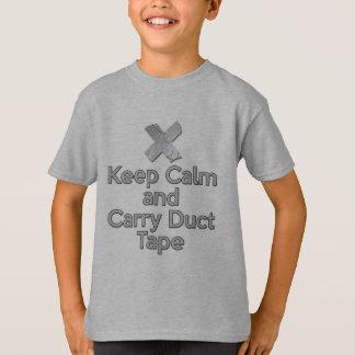 Mantenha fita adesiva calma e do carregar camiseta