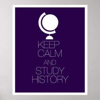 Mantenha história calma e do estudo poster