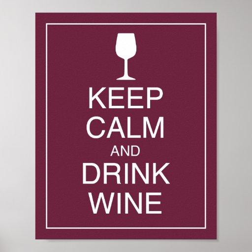 Mantenha impressão calmo e da bebida do vinho da
