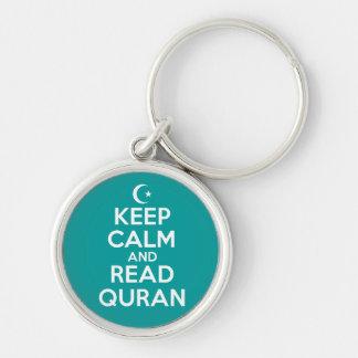 Mantenha islâmico calmo chaveiro redondo na cor prata