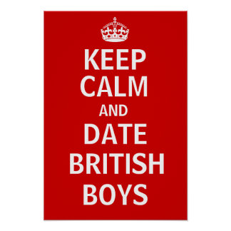 Mantenha meninos de Ingleses da calma e da data Pôster