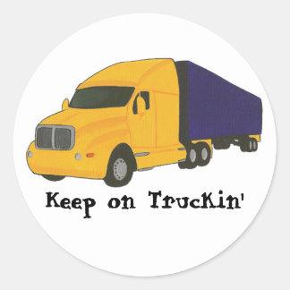 Mantenha no caminhão de Truckin em etiquetas da Adesivos Em Formato Redondos