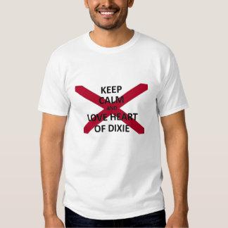 Mantenha o amor calmo o coração de dixie camisetas