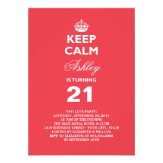 Mantenha o aniversário de 21 anos engraçado calmo  convite