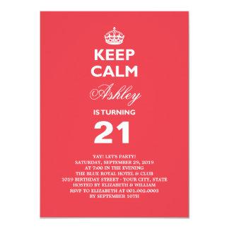 Mantenha o aniversário de 21 anos engraçado calmo convite 11.30 x 15.87cm