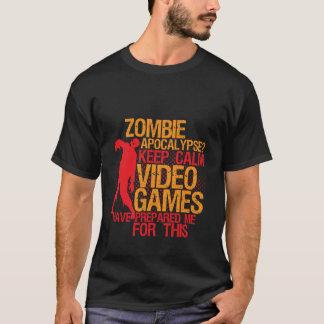 Mantenha o apocalipse engraçado calmo do zombi do camiseta